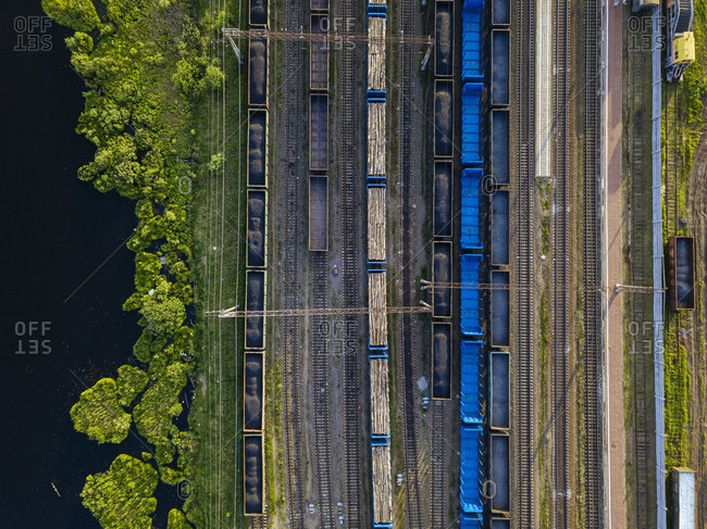 Russia- Leningrad Oblast- Tikhvin- Aerial view of stationary railroad cars