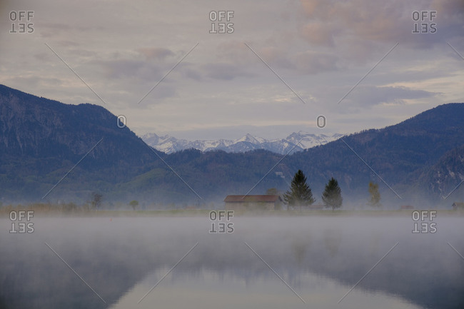 Germany- Bavaria- Schlehdorf- Eichsee shrouded in morning fog