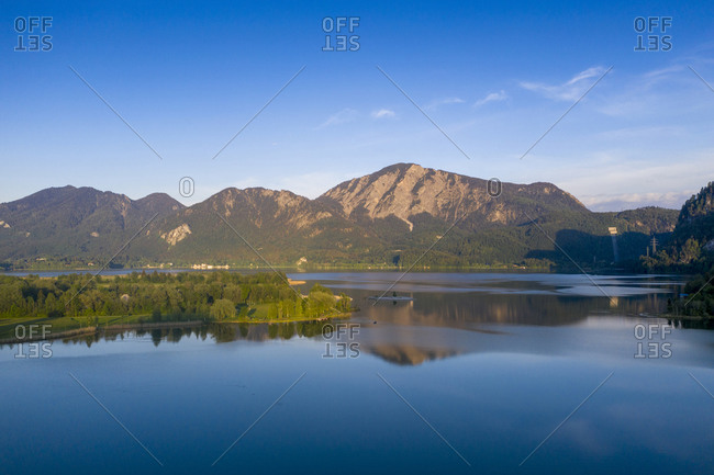 Germany- Bavaria- Upper Bavaria- Loisachtal- Jochberg mountain and Lake Kochel