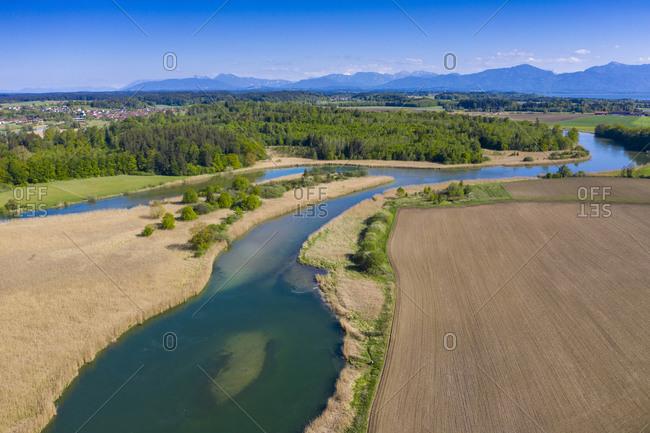 Germany- Bavaria- Upper Bavaria- Chiemgau- Fields and Alz river