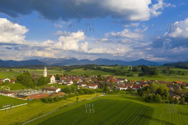 Germany- Bavaria- Upper Bavaria- Antdorf with Benediktenwand mountain in distance