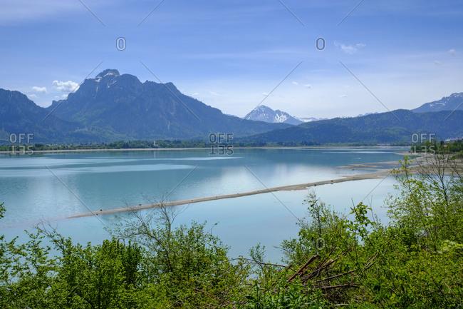Germany- Bavaria- Swabia- Ostallgau- Allgau- Bike path Via Claudia Augusta- on Forggensee