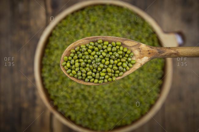 Bowl of green organic mung beans