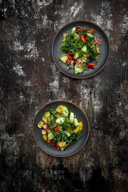 Two plates of warm vegan salad with quinoa- spinach- bell peppers- tomatoes- cucumbers- mint and parsley