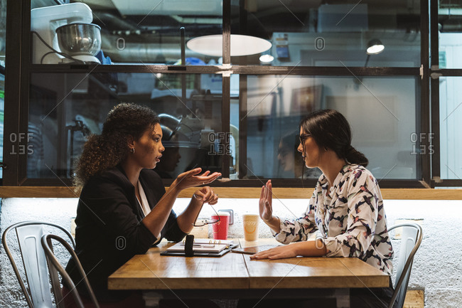 Female business colleagues discussing while sitting at cafe