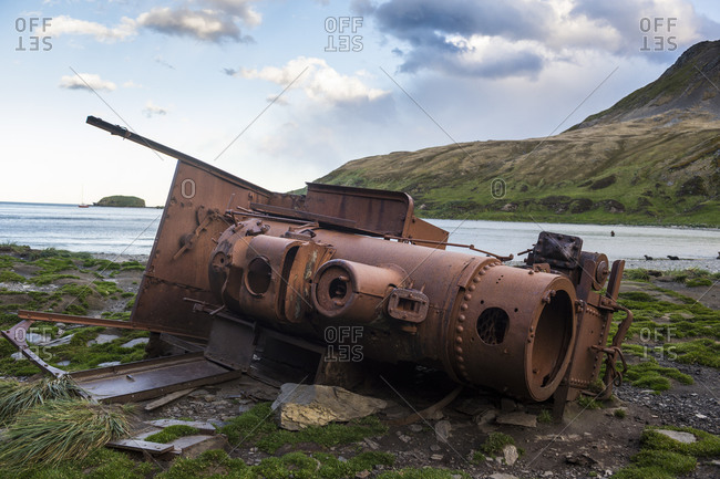 UK- South Georgia and South Sandwich Islands- Abandoned steam locomotive deteriorating on Antarctic shore