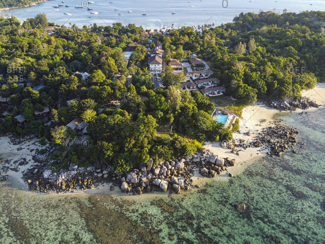 Thailand- Satun Province- Ko Lipe- Aerial view of coastal village in Tarutao National Park