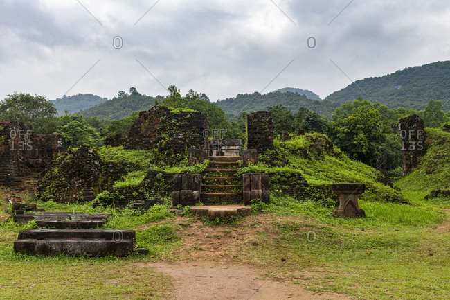 Vietnam- Quang Nam Province- Ancient steps in ruins of My Son complex