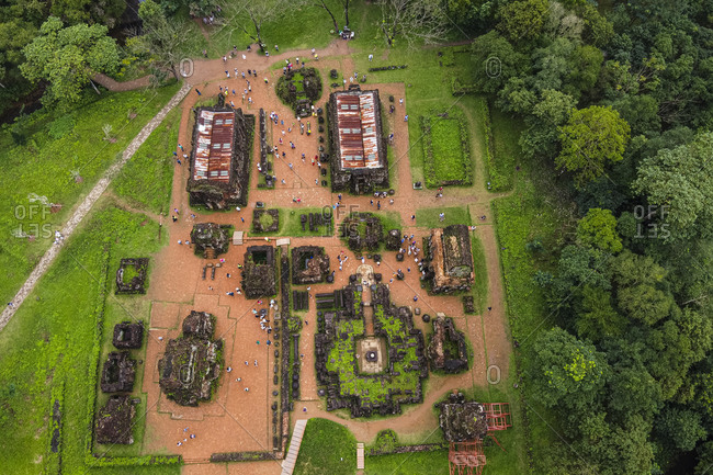 Vietnam- Quang Nam Province- Aerial view My Son complex ruins