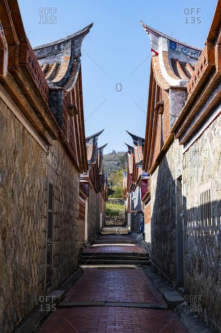 Taiwan- Kinmen- Jinsha- Alley between traditional houses in Kinmen Folk Culture Village