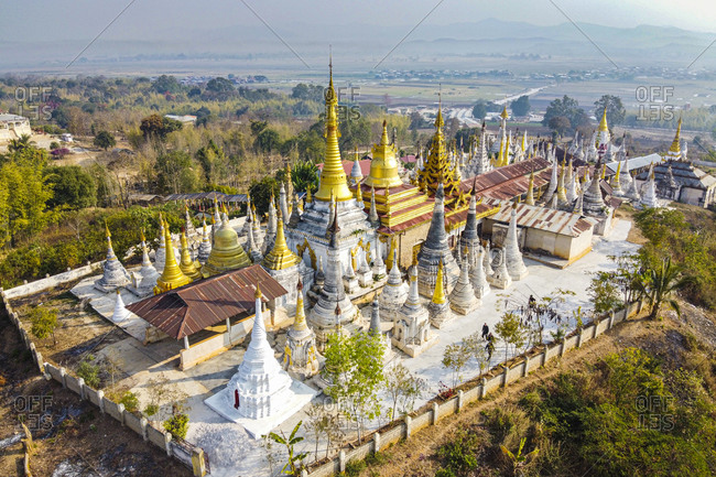 Myanmar- Shan State- Indein- Aerial view of Shwe Indein Pagoda