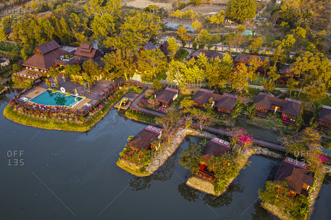 Myanmar- Shan State- Nyaungshwe Township- Aerial view of bungalows along shore of Inle lake