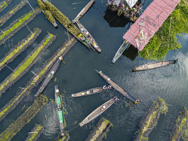 Myanmar- Shan State- Nyaungshwe Township- Aerial view of rowboats and floating gardens on Inle Lake