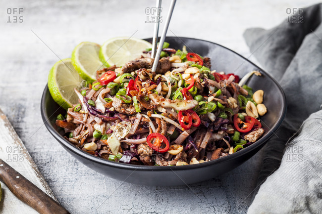 Fried rice noodles with vegetables- Pad Thai style