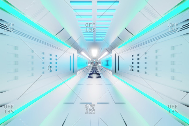 Three dimensional render of white futuristic corridor inside spaceship or space station