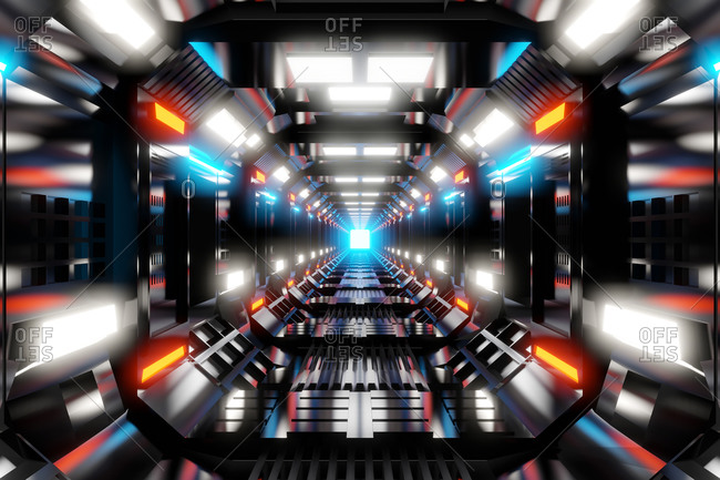 Three dimensional render of brightly illuminated futuristic corridor inside spaceship or space station