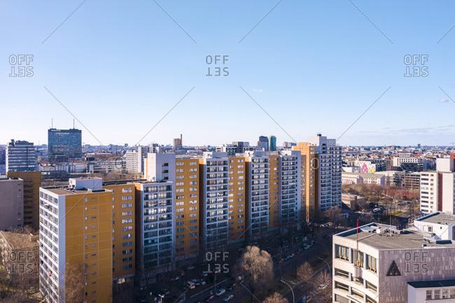 April 4, 2020: Germany- Berlin- Aerial view of Kreuzberg district