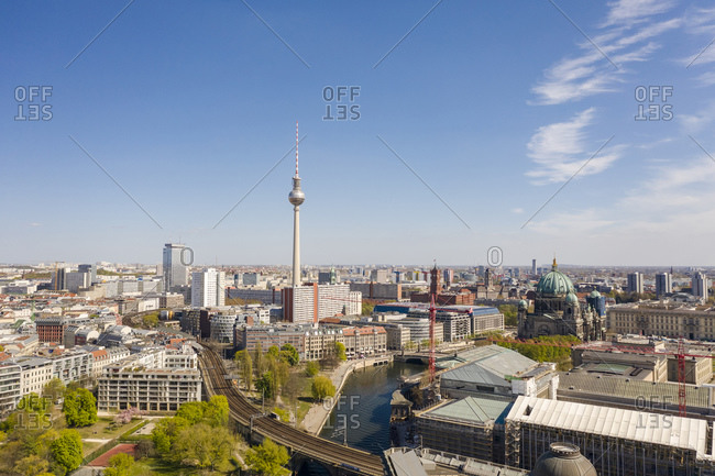 April 17, 2020: Germany- Berlin- Aerial view of buildings surrounding Fernsehturm Berlin