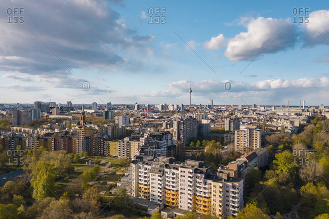 April 13, 2020: Germany- Berlin- Aerial view of Kreuzberg district with Fernsehturm Berlin in background