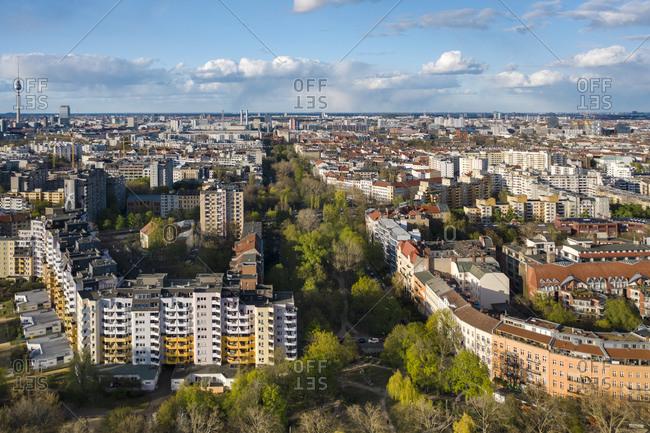 April 13, 2020: Germany- Berlin- Aerial view of Kreuzberg district