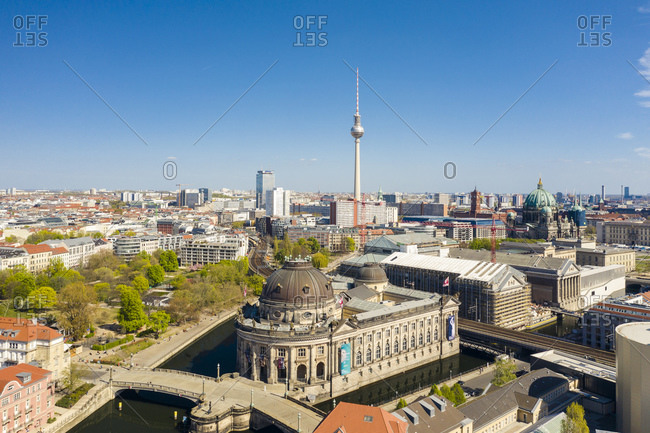 April 17, 2020: Germany- Berlin- Aerial view of Bode Museum with Fernsehturm Berlin in background