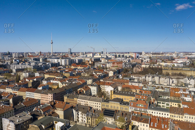 March 22, 2020: Germany- Berlin- Aerial view of Kreuzberg district with Fernsehturm Berlin in background