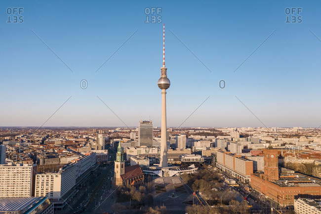 March 23, 2020: Germany- Berlin- Aerial view of Fernsehturm Berlin and Alexander Platz