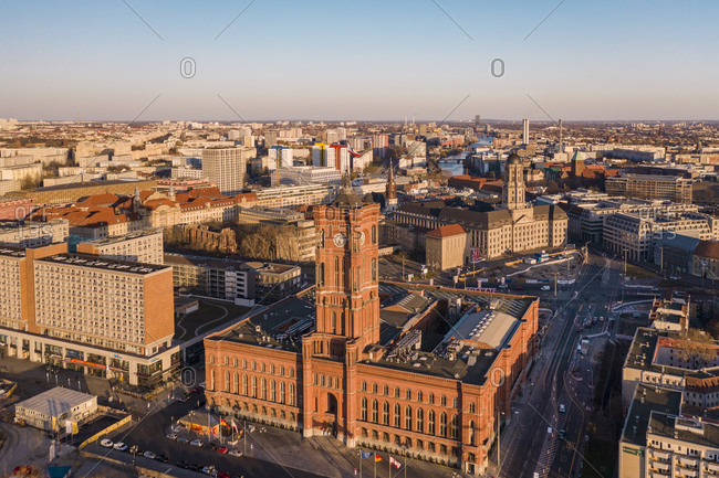 March 23, 2020: Germany- Berlin- Aerial view of Rotes Rathaus at dusk