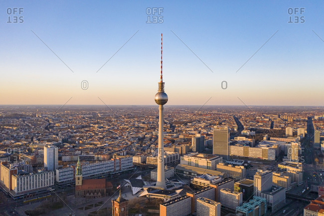 March 23, 2020: Germany- Berlin- Aerial view of Fernsehturm Berlin at dusk