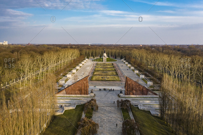 March 26, 2020: Germany- Berlin- Aerial view of Treptower Park Soviet War Memorial in autumn