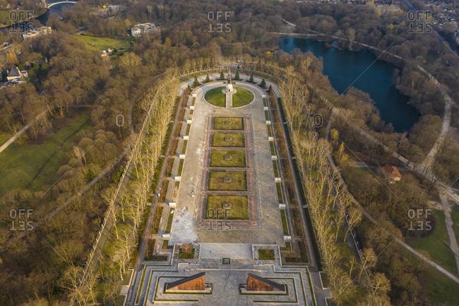 Germany- Berlin- Aerial view of Treptower Park Soviet War Memorial in autumn