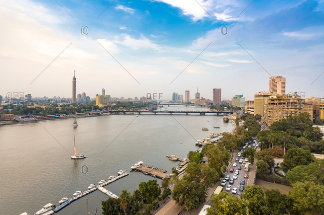 Egypt- Cairo- Nile with skyline and downtown area from Garden City