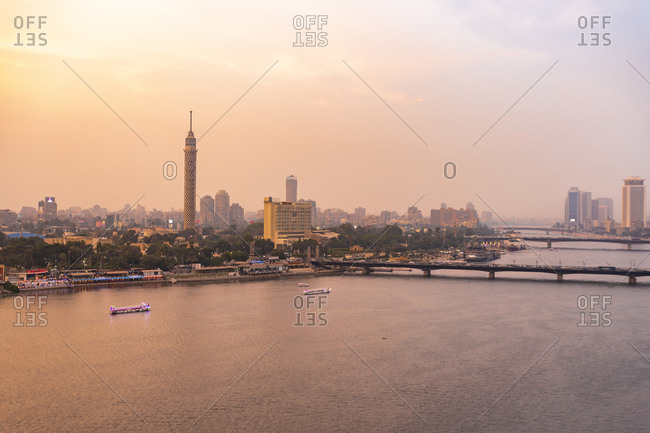 November 8, 2018: Egypt- Cairo- Nile with the Cairo Tower on Gezira Island at sunset