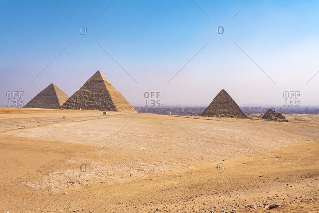 Egypt- Giza Governorate- Giza- Clear sky over Giza Pyramids