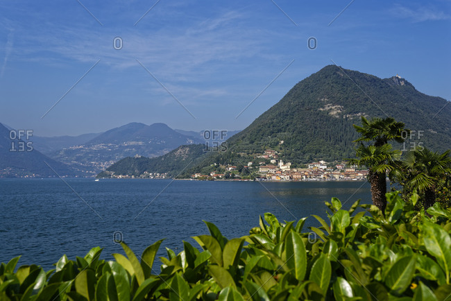 Italy- Lombardy- Monte Isola- Sulzano- Lake Iseo surrounded with mountains