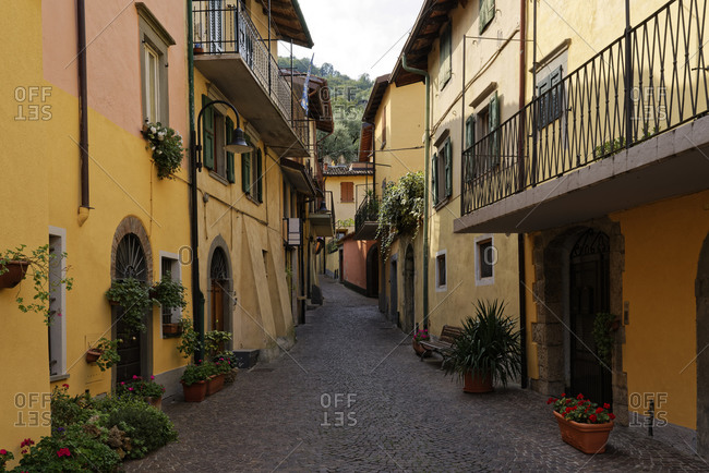 Italy- Lombardy- Monte Isola- Houses and narrow alley