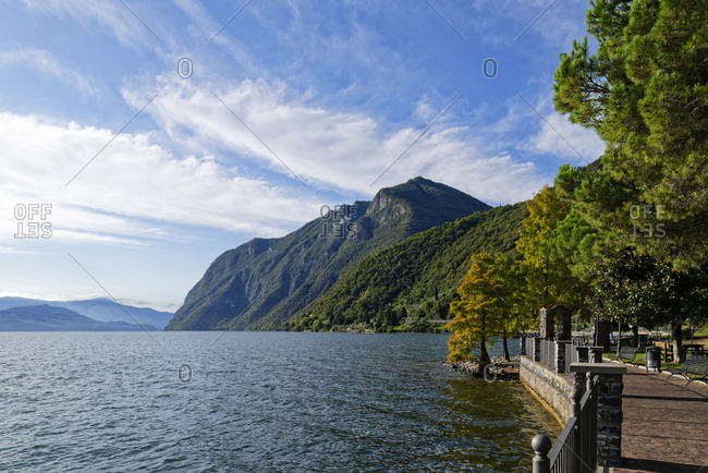 Italy- Lombardy- Riva di Solto- Lake Iseo and mountain