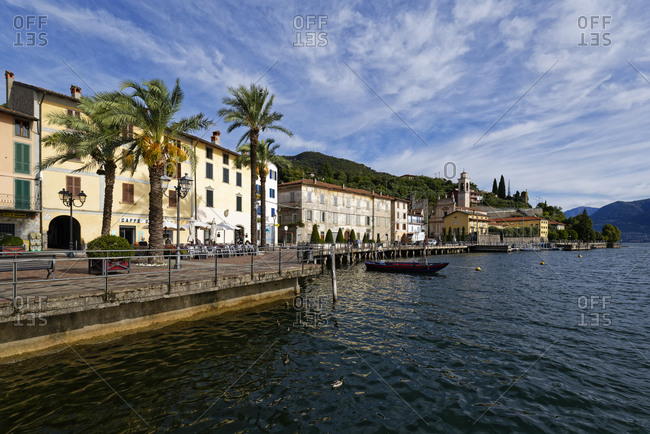 October 10, 2019: Italy- Lombardy- Riva di Solto- Lake Iseo and town
