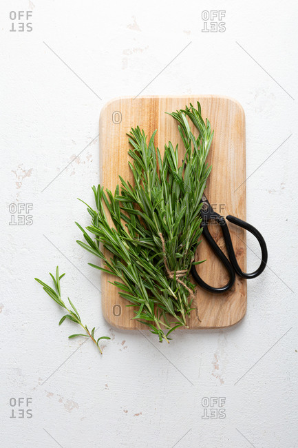 Overhead view of a bundle of fresh rosemary