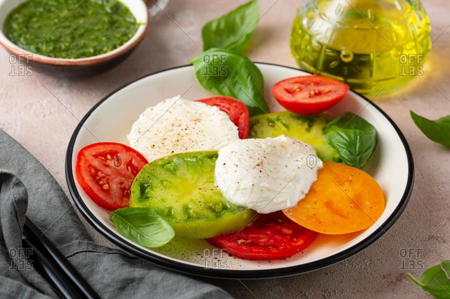 Close up of Heirloom tomato salad