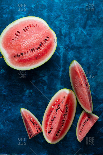 Overhead view of sliced watermelon