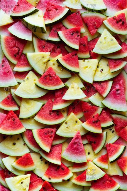 Fresh sliced organic watermelon triangles