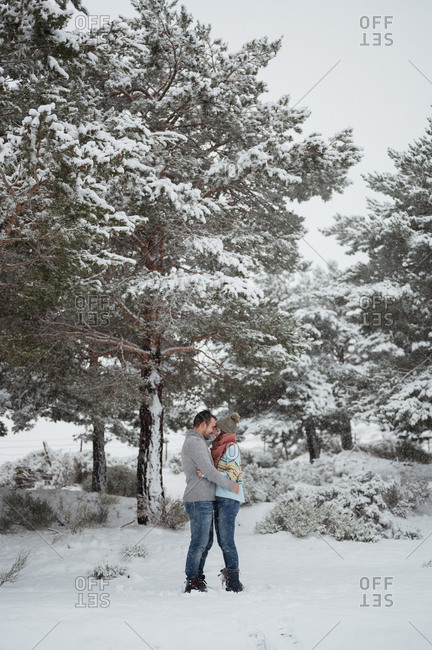 Full body side view of casual man and woman in warm hat standing close against coniferous trees in winter time