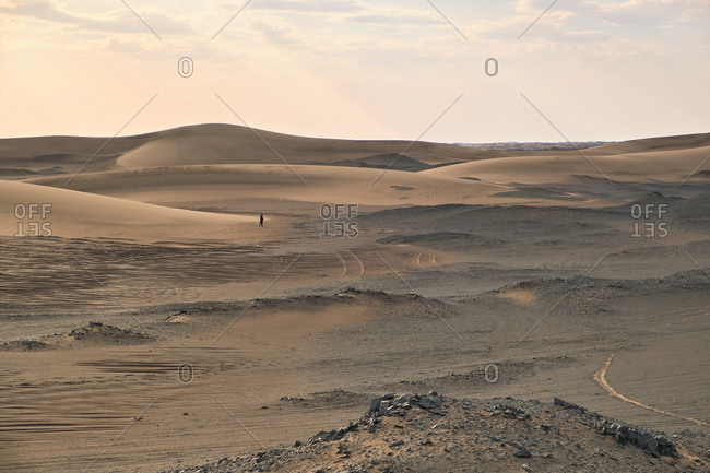 Picturesque view of desert with sandy dunes near small rough stones on dry terrain under serene sky in evening