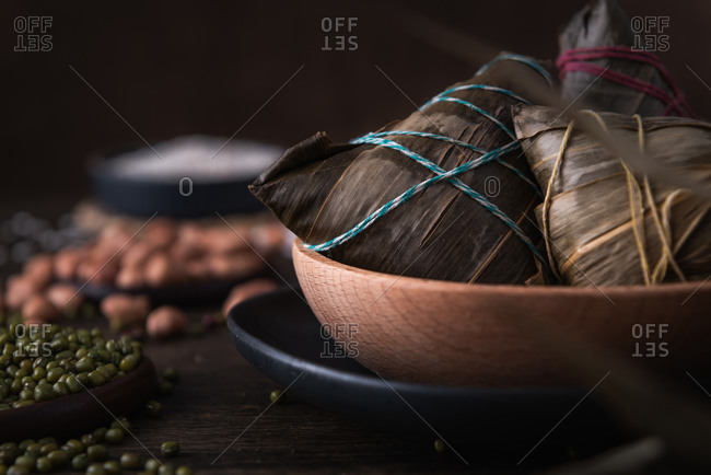 Traditional Chinese rice dumplings called Zongzi. They usually eat them during the traditional Dragon boat festival in June.