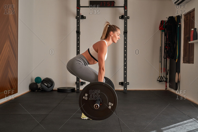 Full body powerful sportswoman in sportswear and sneakers squatting with heavy weight during training in fitness studio