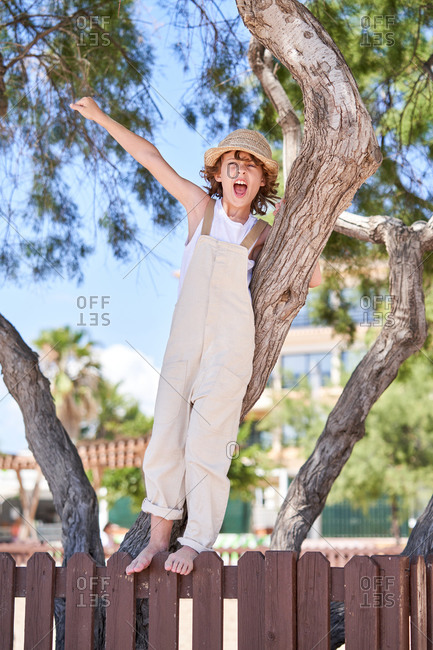 Full body of joyful boy screaming with fist while standing on wooden fence near tree