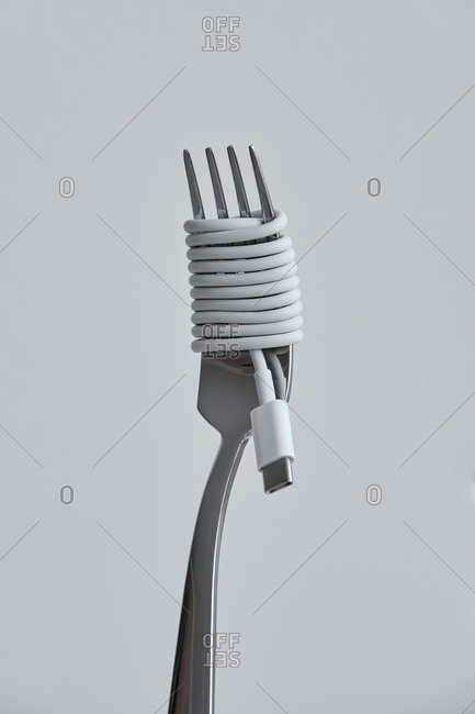 Close-up of a fork coiled by a charger cable