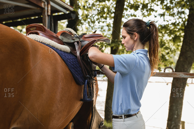 Side view of serious female equestrian putting saddle on chestnut horse before dressage
