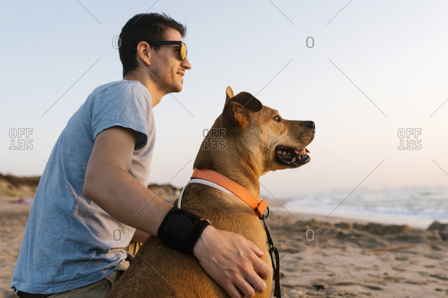 Man and dog looking away while sitting at beach